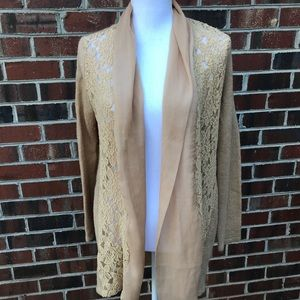 Chico's Tan and Lace Cardigan Sweater Pancho/Cape